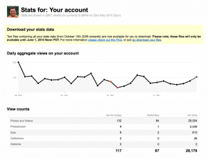 My stats on Flickr at 25000 photo views